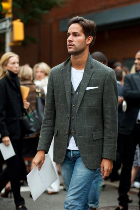 Gray Plaid Sportcoat & Cardigan
