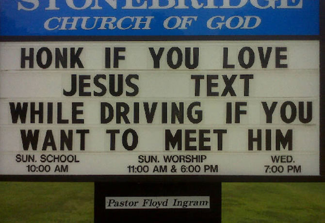 Honk if you love Jesus