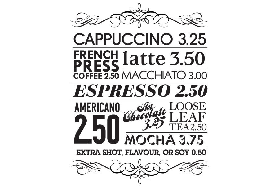 Workspace coffee menu