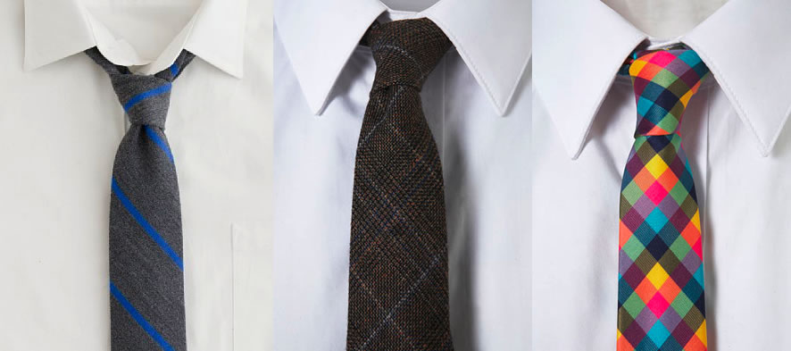 Ties in black, brown and party