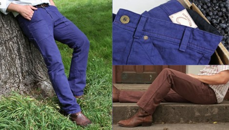 Betabrand Craftsman Pants - Blueberry and Potato colors